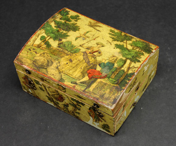 A Louis XV lacca povera yellow ground games box second quarter 18th century
