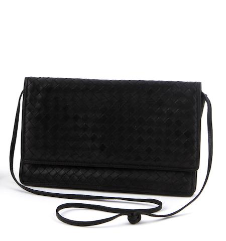 A Bottega Veneta black woven leather handbag