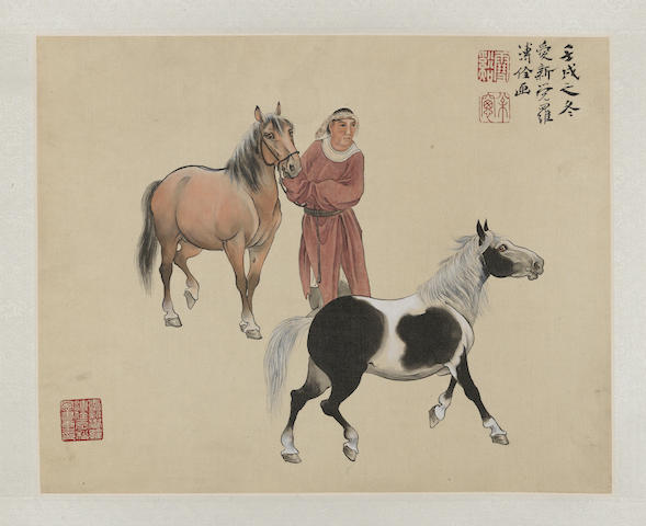 Pu Quan 1913-1991 Two Paintings of Horses and Grooms A Pair of Hanging Scrolls Ink and Color on Silk