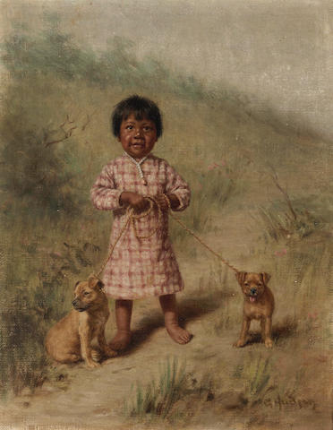 Grace Carpenter Hudson (American, 1865-1937) Greenie with two yellow puppies, 1896 10 1/4 x 8in