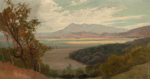 Gordon Coutts (Scottish/American, 1868-1937) Marshlands with mountains in the distance 10 1/2 x 19 1/4in