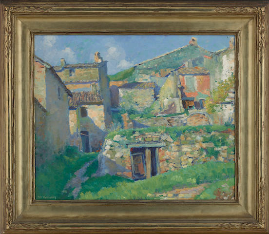 Abel George Warshawsky (American, 1883-1962) Village homes 18 x 21 3/4in