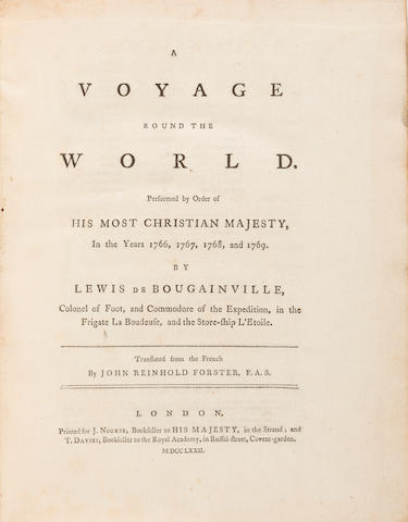 BOUGAINVILLE, LOUIS ANTOINE. 1729-1811. A Voyage round the World. Performed ... in the years 1766, 1767, 1768, and 1769.... London: T. Nourse and J. Davies, 1772.