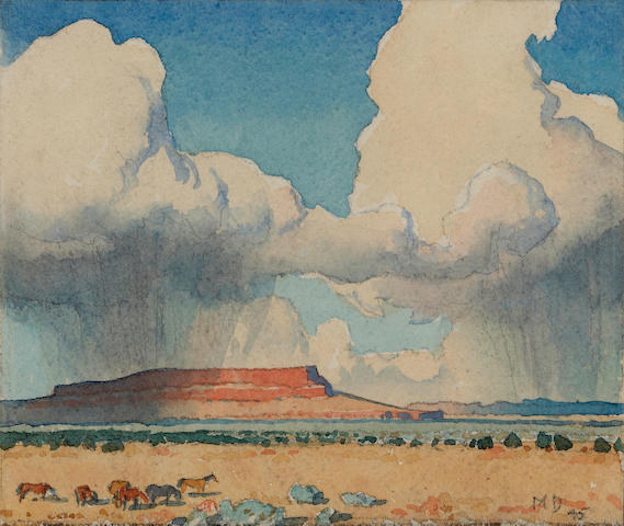 Maynard Dixon (1875-1946) Clouds and mesa, Arizona, 1945 4 1/2 x 5 1/4in