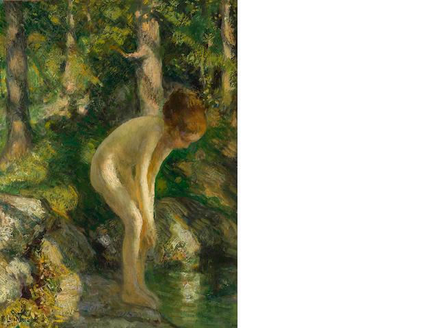 Francis Luis Mora (American, 1874-1940) Bather, 1924 16 x 12in