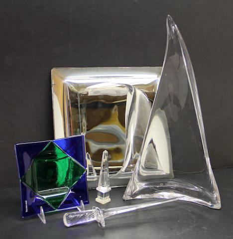 A small rock crystal obelisk and an assembled grouping of glass