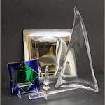 Group of glass including a Murano glass dish, a square mirrored wall plaque, obelisk, sword and sail