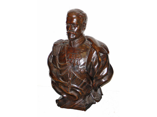 A patinated bronze portrait bust: Czar Nicholas II (1868-1918) after a model by Leopold Bernhard Bernstamm (Russian 1859-1910) after the Sèvres model 20th century