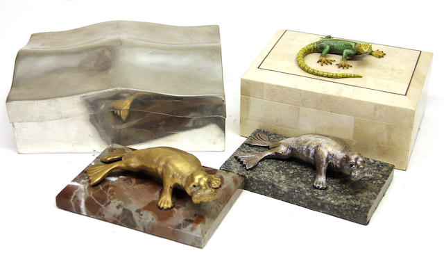 Two hardstone paperweights with silvered-metal figure of a walrus; Mexican pewter box and a hardstone veneered box with metal gecko