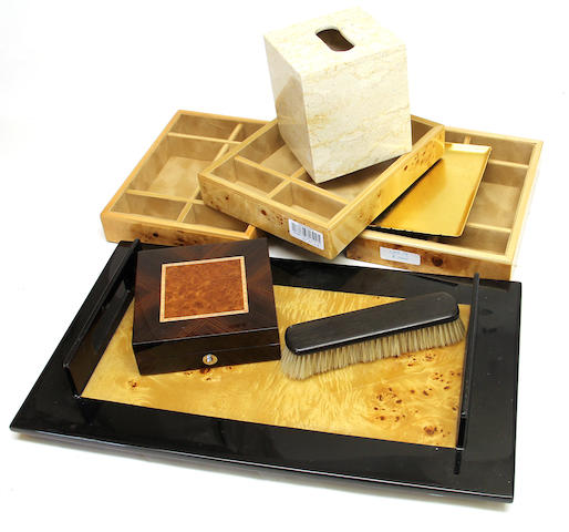 Three fitted jewerly trays, two handled rectangular laquered tray; gilt lacquer tray; boxes, hardstone tissue box and ebony brush