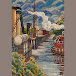Otis Oldfield (American, 1890-1969) Industrial riverside 20 x 14 1/4in