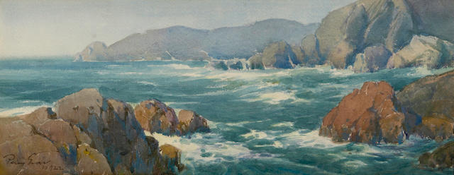 Percy Gray (1869-1952) The entrance to the Golden Gate from Elephant Rock, 1922 7 x 18in