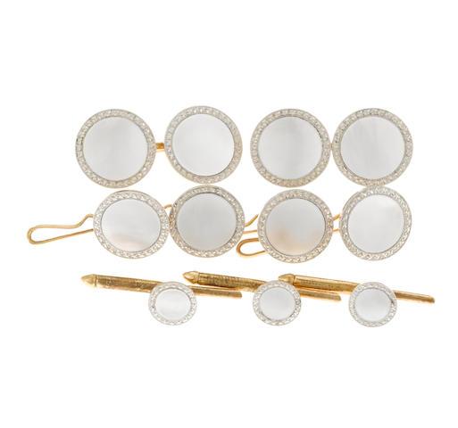 A mother-of-pearl and platinum-topped fourteen karat gold gentlemen's dress set, Black, Starr & Frost