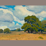 Arthur Hill Gilbert (American, 1894-1970) Oaks in sunshine 9 x 12in