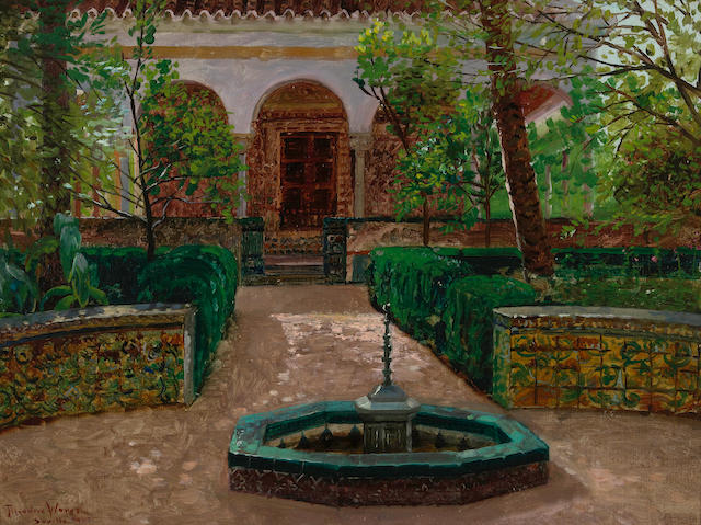 Theodore Wores (1859-1939) The garden of the Alcazar, Seville, Spain, 1903 12 x 16in