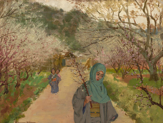 Theodore Wores (1859-1939) Viewing the plum blossoms of Sugita 9 1/4 x 12 1/4in
