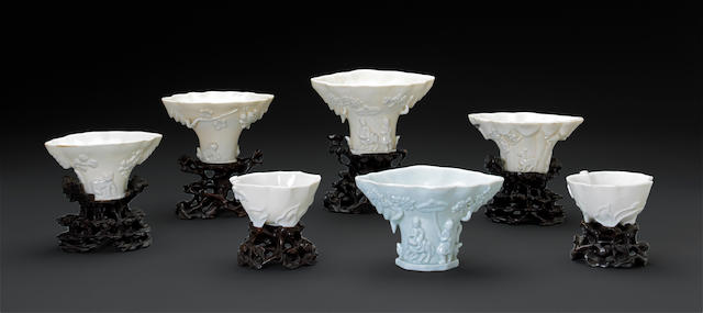 A group of seven Dehua porcelain libation cups 18th century