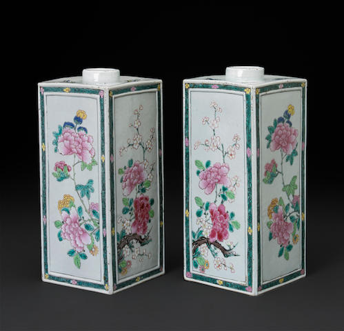 A pair of famille rose square sided vases 18th century