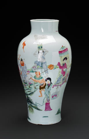A famille rose figural vase (drilled) 19th century