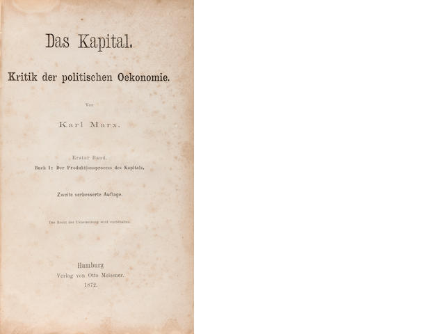MARX, KARL. 1818-1883. Das Kapital. Kritik der politischen Oekonomie. Hamburg: Otto Meisner, 1872.<BR />