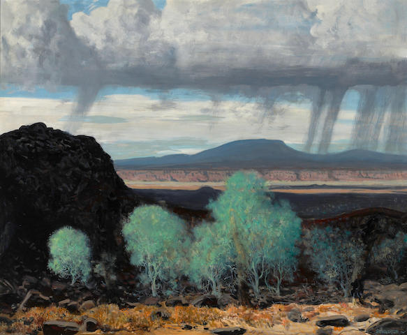 James Swinnerton (American, 1875-1974) Black lava 28 x 34in