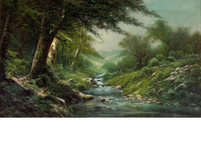 Ransom Gillet Holdredge (American, 1836-1899) Stream through a wooded landscape 30 x 50in