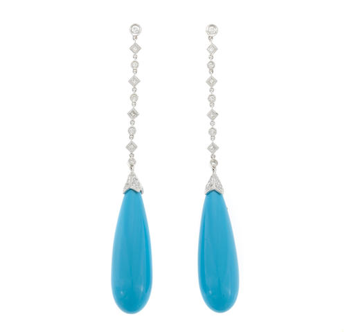 A pair of turquoise, diamond and 18k white gold earring drops