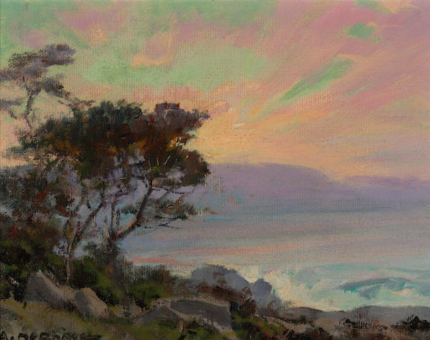 Albert Thomas DeRome (American, 1885-1959) Sand Dunes, Point Pinos, bush lupine, mesam, 1945; Carmel Bay from Pescadero Point, 1946 (a pair) each 6 x 8in