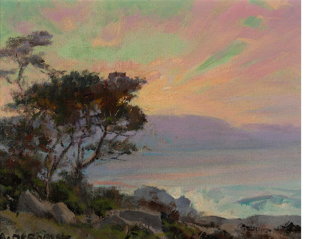 Albert Thomas DeRome (American, 1885-1959) San Dunes, Point Pinos, bush lupine, mesam, 1945; Carmel Bay from Pescadero Point, 1946 (a pair) each 6 x 8in