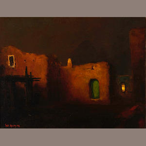 Will Sparks (American, 1862-1937) Twilight, adobe house, 1917 12 x 16in