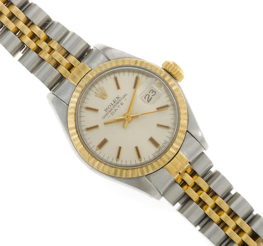 A stainless steel and eighteen karat gold bracelet automatic wristwatch, Rolex