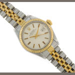 A stainless steel and gold ladies automatic bracelet wristwatch, Rolex