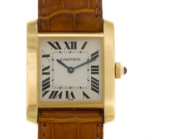 An eighteen karat gold strap wristwatch, Cartier