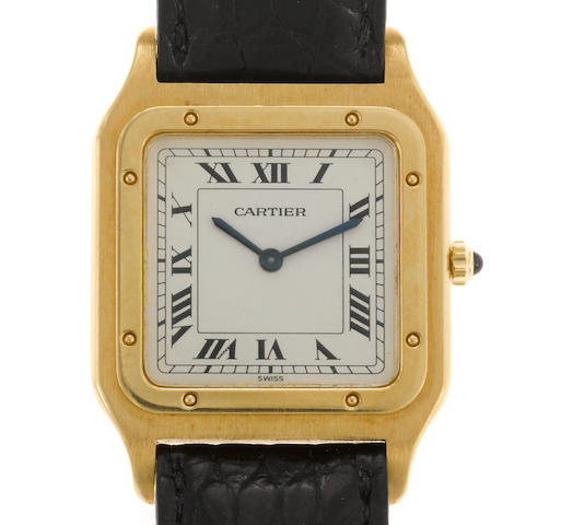 An eighteen karat gold strap wristwatch, Cartier