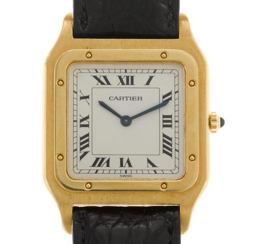 An eighteen karat gold and leather strap wristwatch, Cartier