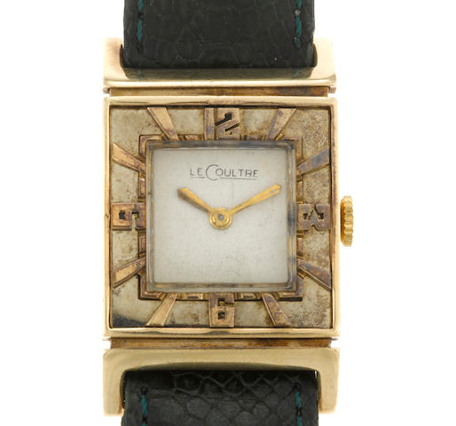 A fourteen karat gold wristwatch, Jaeger LeCoultre, with later leather strap