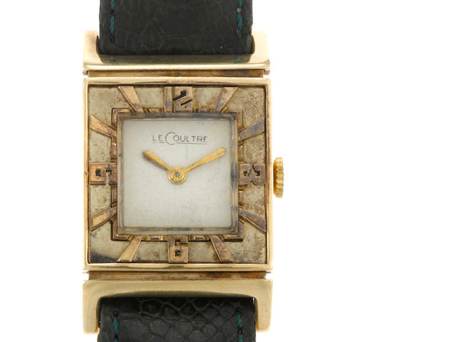 A fourteen gold strap wristwatch, Jaeger LeCoultre