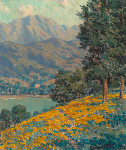 Granville Redmond (American, 1871-1935) California poppies with a lake and mountains beyond 14 x 12in
