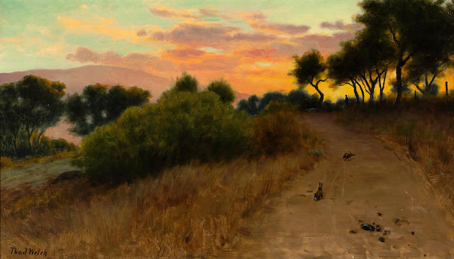 Thaddeus Welch (American, 1844-1919) Hunting rabbits at sunset 14 x 24in