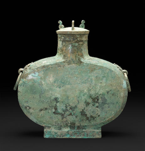 A cast bronze wine vessel, bianhu Han dynasty