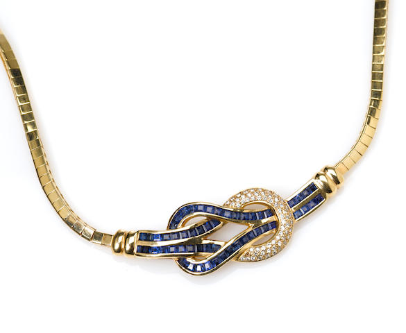 A sapphire, diamond and gold loop motif necklace