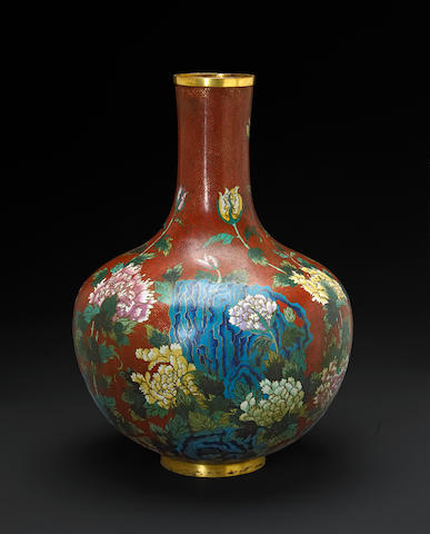 A cloisonne enameled stick neck vase 19th century