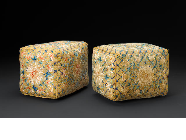 Two yellow ground embroidered silk cushions 18th/19th century