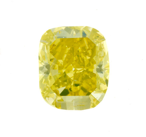 An unmounted fancy vivid greenish-yellow diamond