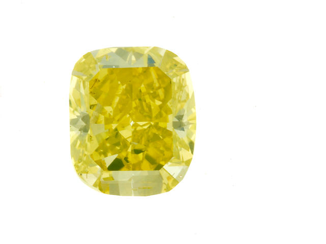 An unmounted fancy vivid greenish-yellow diamond