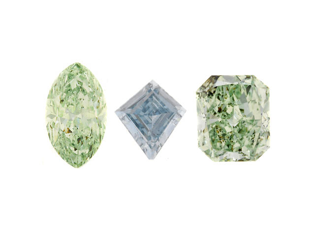 A collection of three unmounted fancy intense colored diamonds