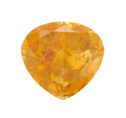 An unmounted fancy vivid yellow-orange diamond