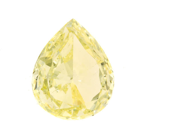 An unmounted fancy yellow diamond