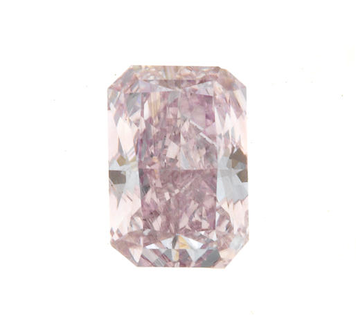 An unmounted fancy pink-purple diamond