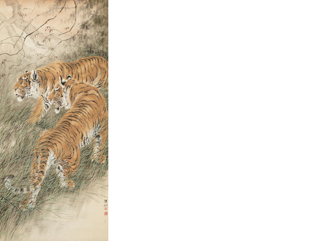 Hu Zaobin, Two Tigers, hanging scroll, ink and color on paper